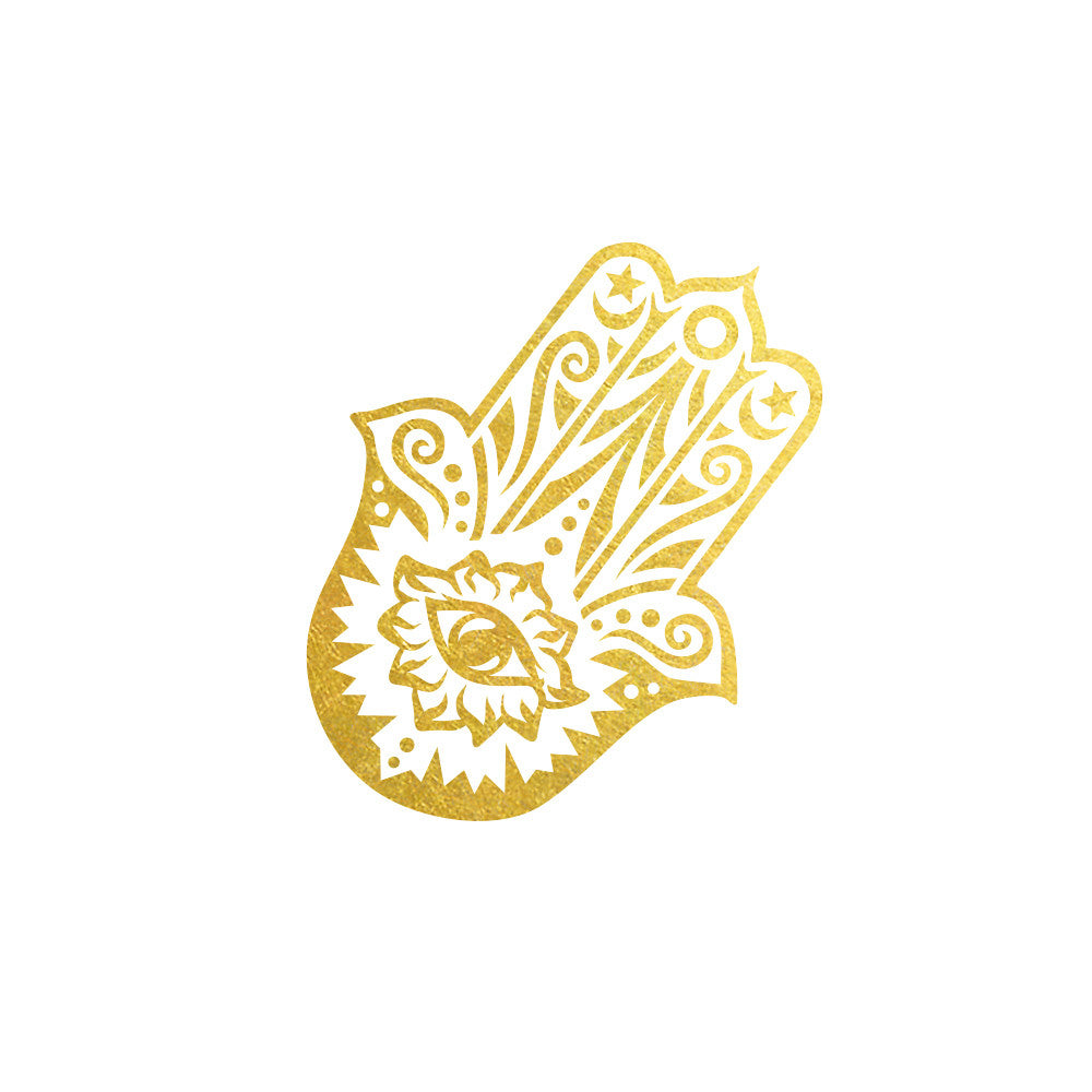 metallic temporary tattoo of gold Hamsa, hamsa flash tattoo yoga