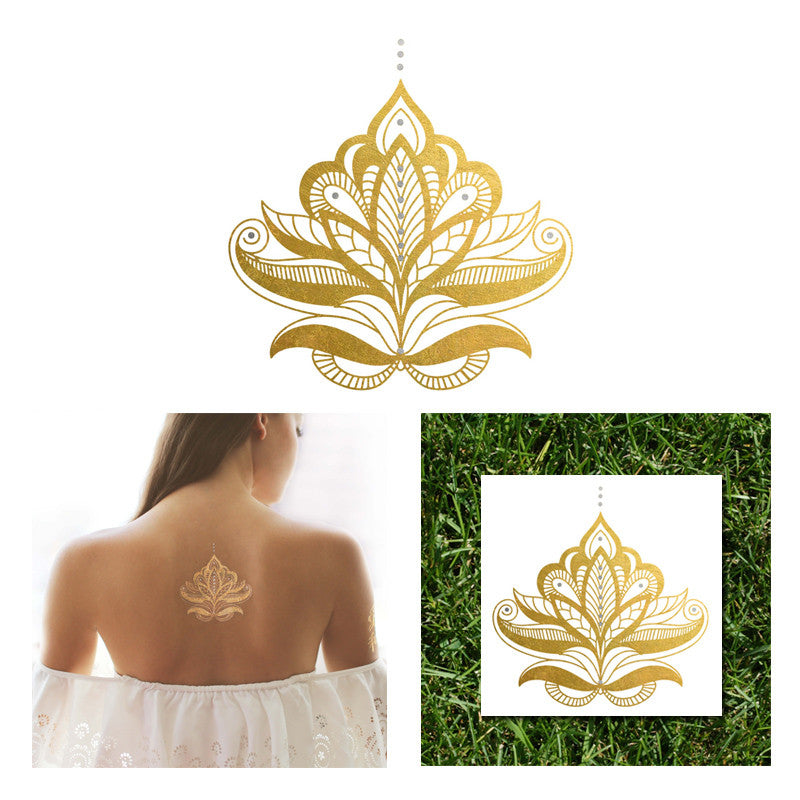 Gold and Silver Henna Temporary Tattoo, Sheebani Flash Tattoos