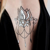 Gold and Black Henna Sternum Flash Tattoo