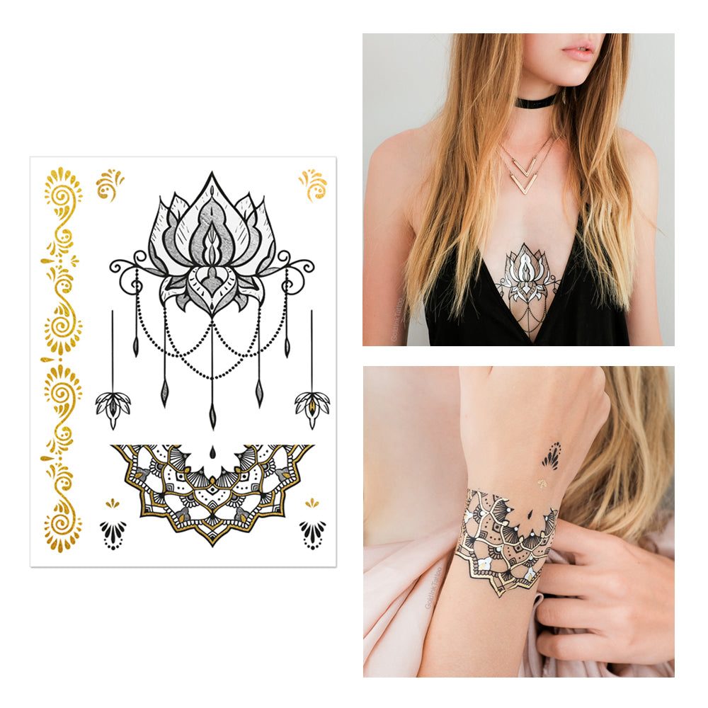 Gold and Black Henna Premium Design Pack of Metallic Temporary Tattoos, Flash Tattoos