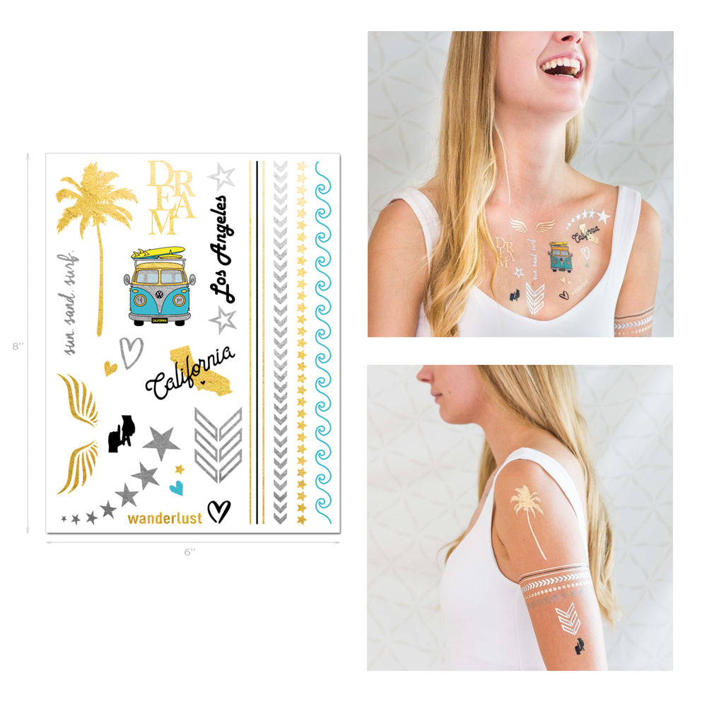 los angeles and california themed metallic temporary tattoos, gold and silver flash tattoos, la la land
