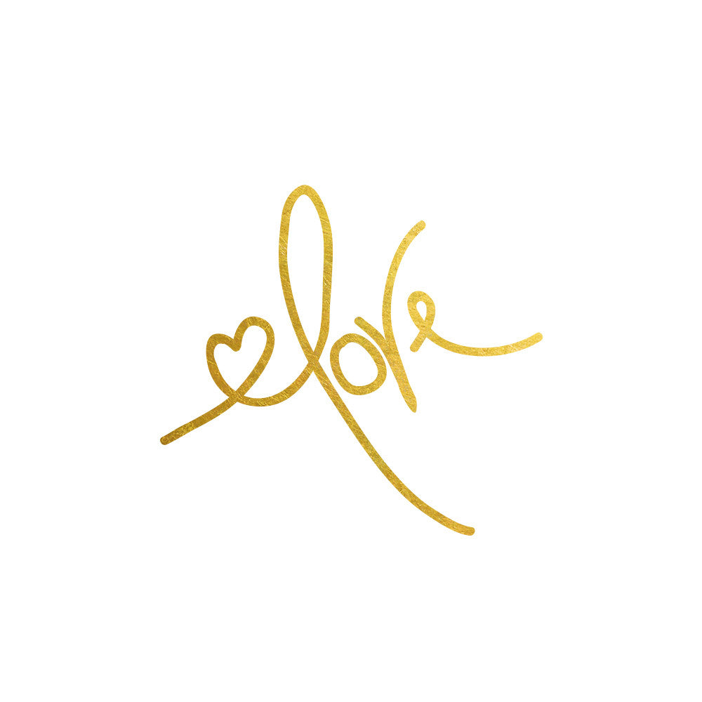 Love Script metallic gold or silver temporary tattoo, flash tattoo, gift for her