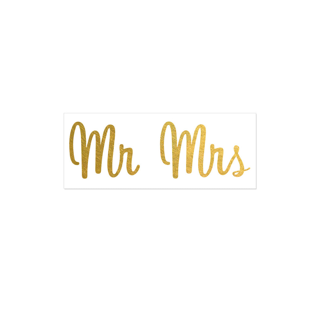 Wedding Mr and Mrs Metallic Temporary Flash Tattoo