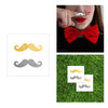 Fun pair of gold and silver metallic tattoo mustaches
