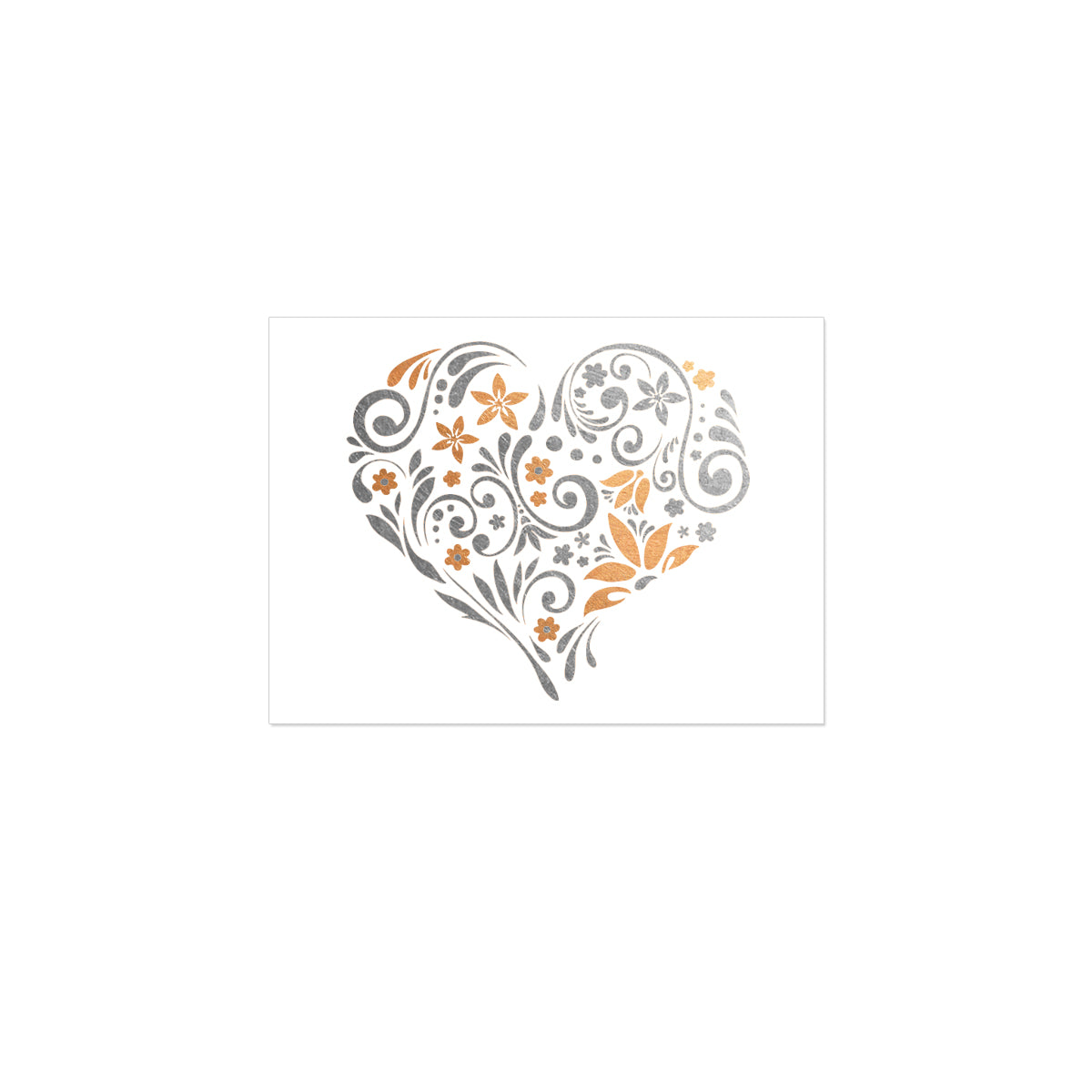 My Heart Blooms Floral Rose Gold Silver Metallic Temporary