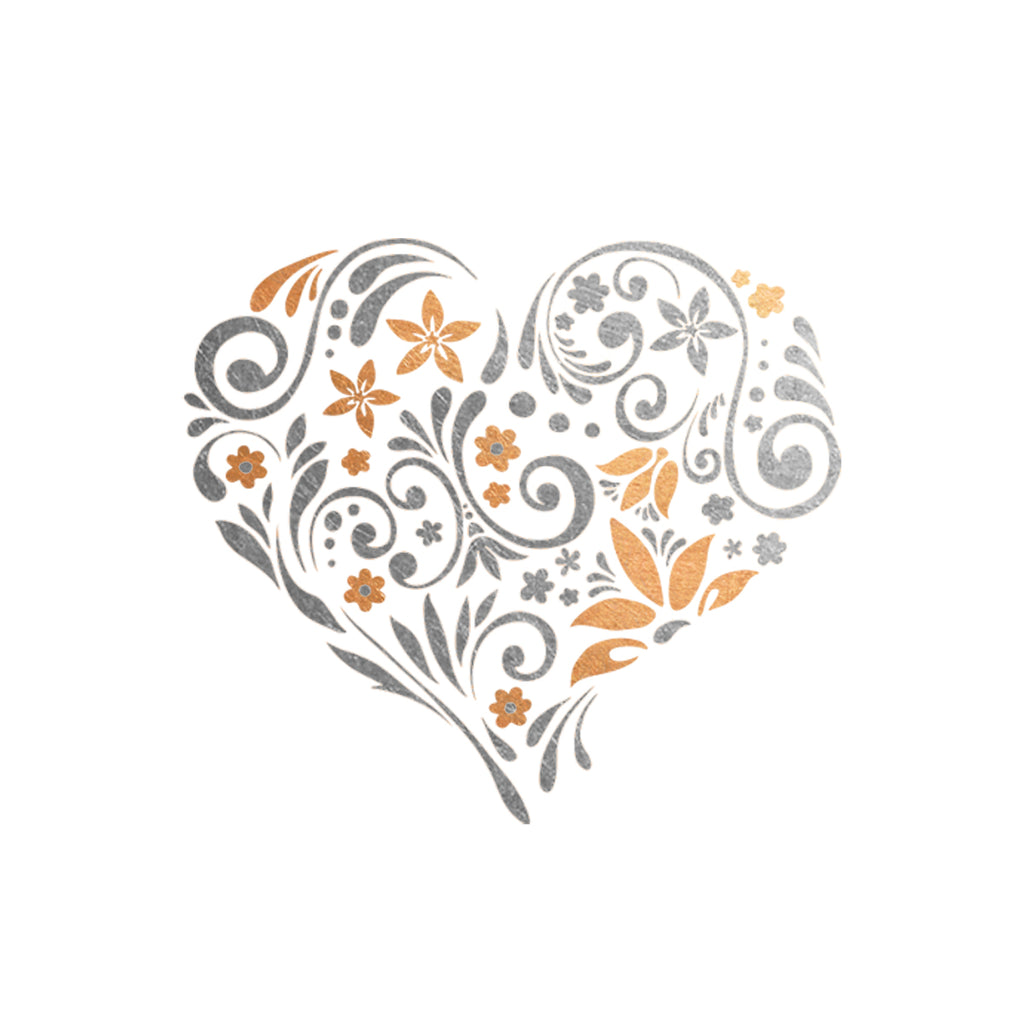 My Heart Blooms Floral Rose Gold Silver Metallic Temporary Tattoo, Flash Tattoo