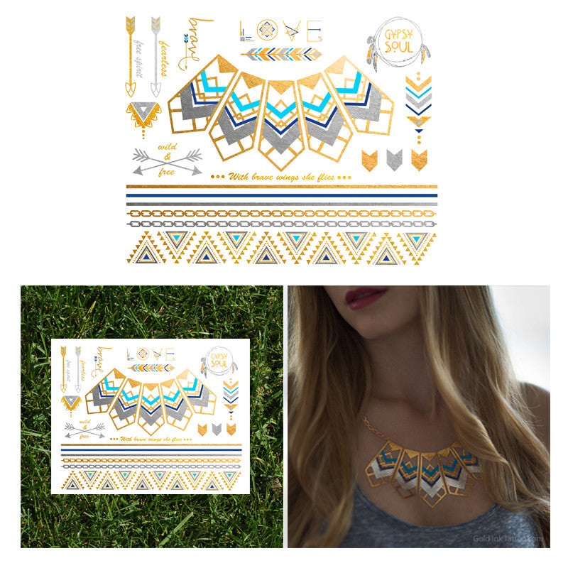 Flash Tattoo Native Necklace Geometric Festival Bohemian Jewelry Tattoo Set Metallic Gold Silver Turqiouse Blue Temporary Tattoo