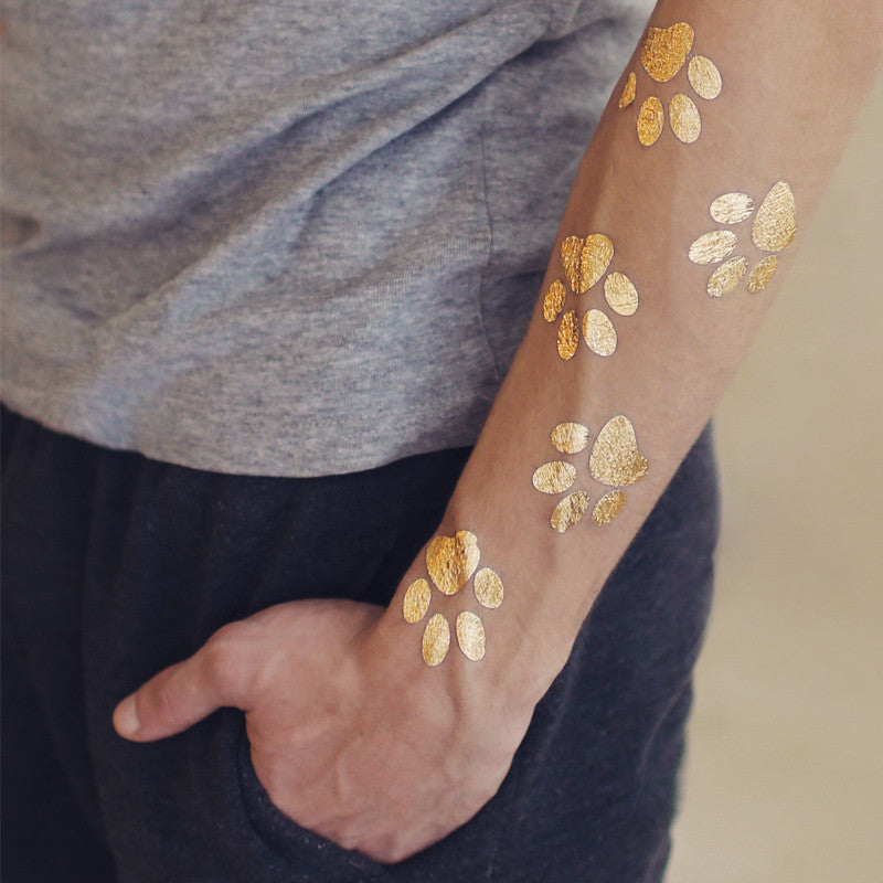 Gold Tattoo Ink: 2 PACK Paw Print Metallic Temporary Gold Foil Tattoo
