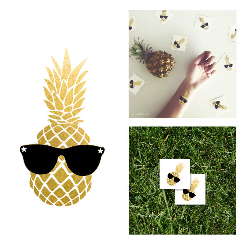 Pineapple Princess Gold Metallic Temporary Tattoo, Flash tattoo, Party Idea Tattoo