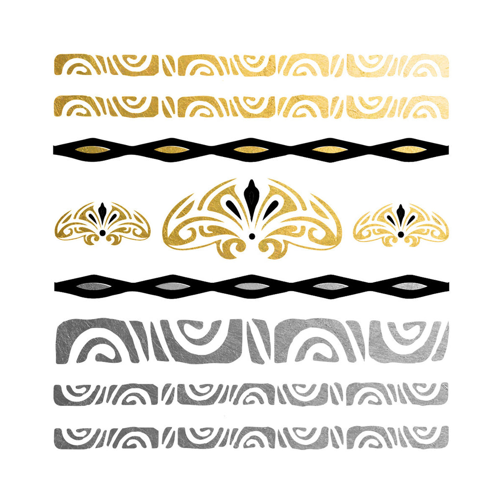Polynesian temporary tattoo bracelets in gold, silver and black, Polynesian flash tattoo