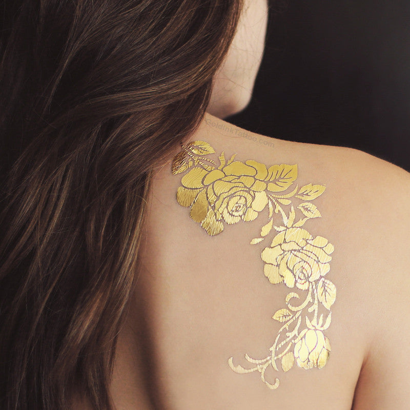 Gold Rose Metallic Temporary Flash Tattoo Set | Gold Ink Tattoo