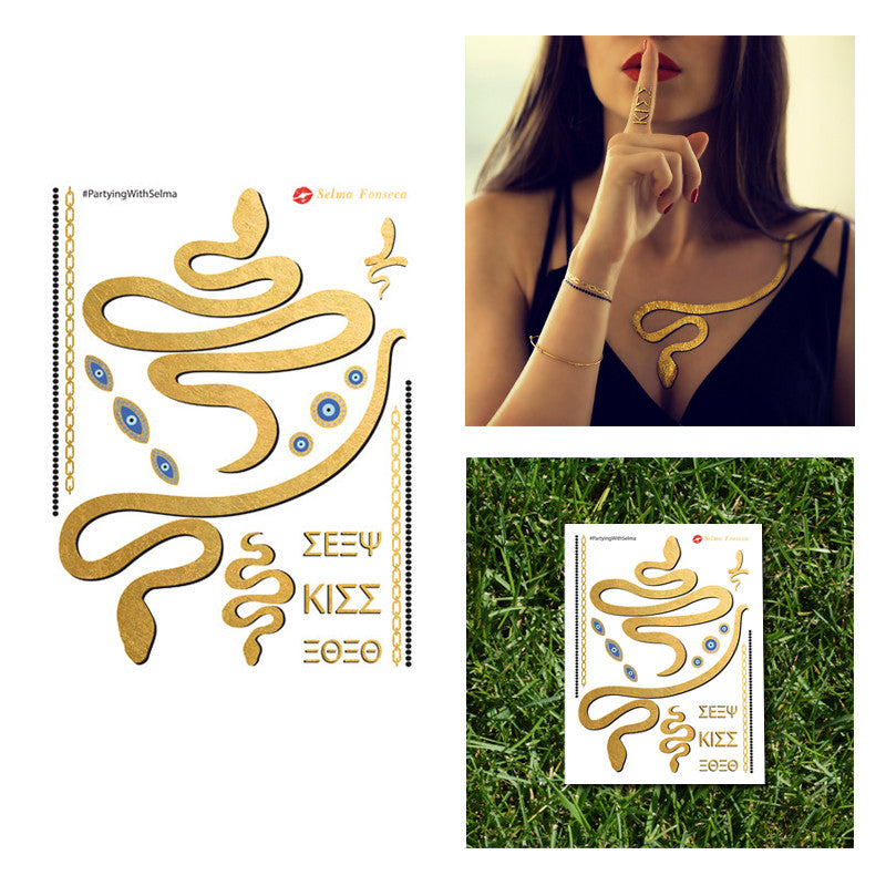 Greek Medusa Metallic Jewelry Temporary Flash Tattoo by Selma Fonseca Necklace Snake