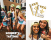 Samples of custom metallic tattoo for your next sorority event