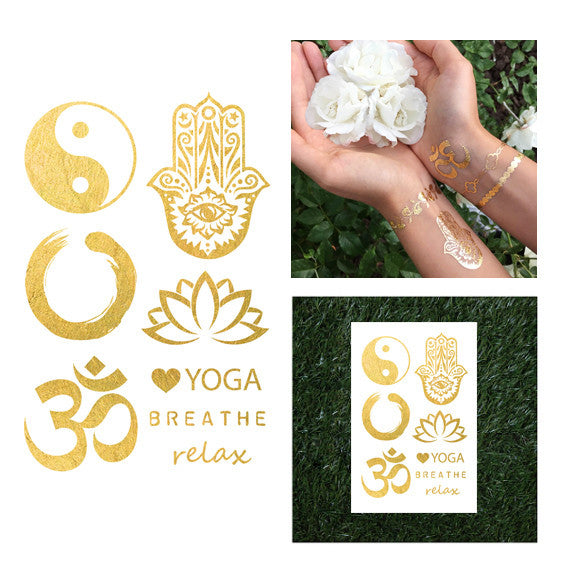 Yoga Ohm Hamsa Metallic Temporary Jewelry Flash Tattoo Ying Yang Lotus Enso Om Zen Circle Buddhism Hindu Egyptian Symbols