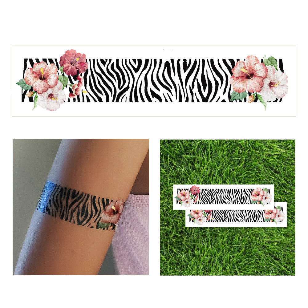 zebra animal print with flowers flash tattoo, animal zebra metallic temporary tattoo, tropical animal with flowers temporary tattoo