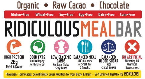 Physicians Research Ridiculous Meal Bar HIGH Protein LOW Carb Vegan Organic Superfood MEAL Replacement BARS - BOX of 12