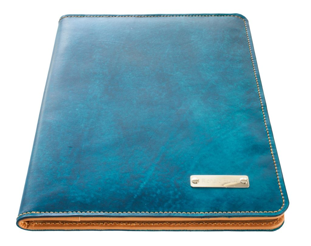"""Sparrowhawk Leather compendium with engraved """"silver"""" nameplate"""