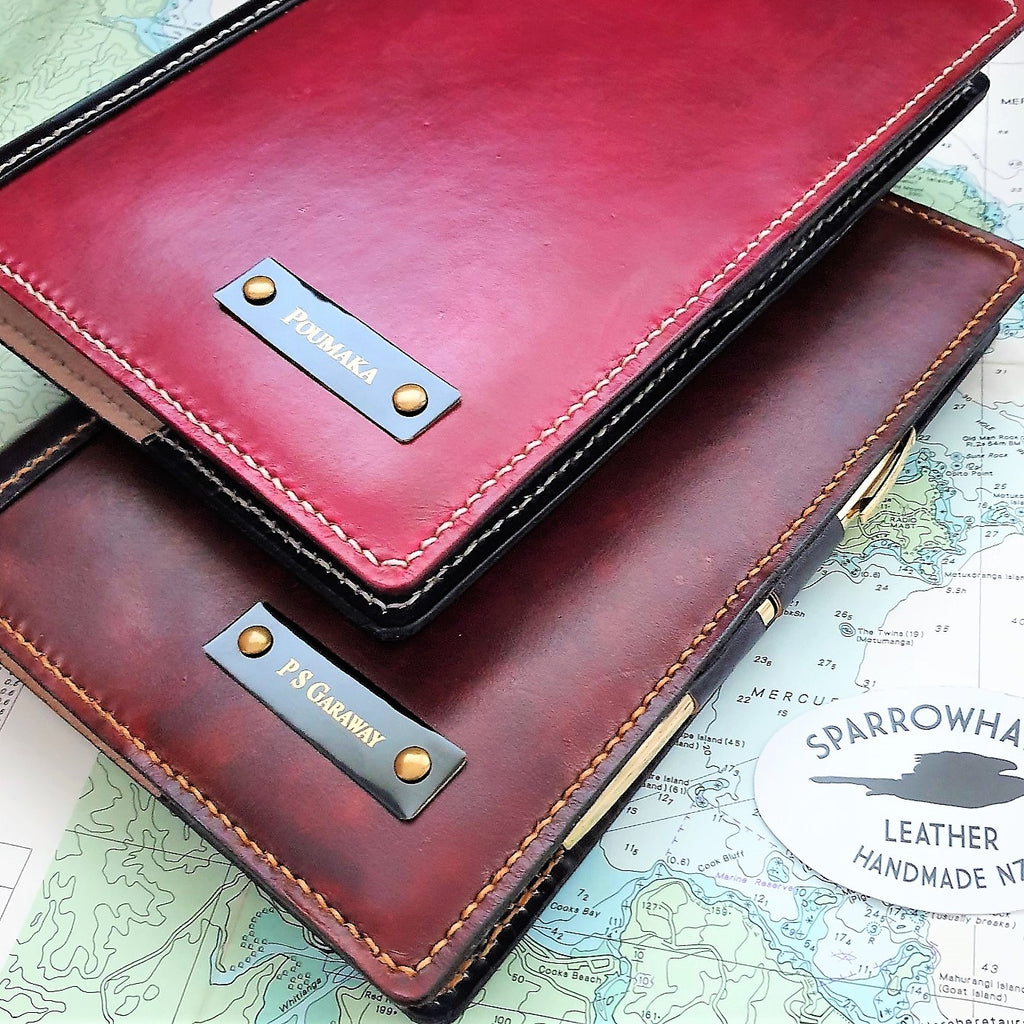 Handmade leather notebook covers (Oxblood, Brown) personalised with engraved nameplate (black on brass)