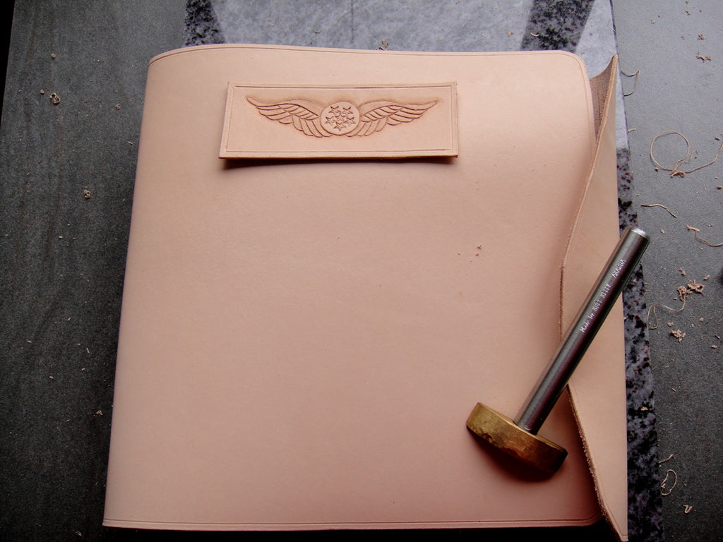 Sparrowhawk Leather wrap pilot logbook cover work in progress
