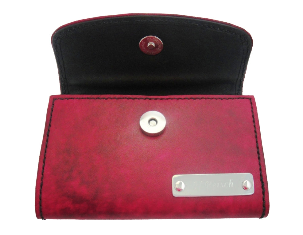 """Women's Raspberry wallet with """"silver"""" nameplate by Sparrowhawk Leather"""
