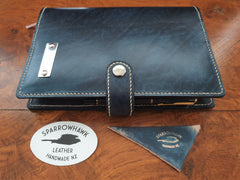 Sparrowhawk Leather NZ Navy Leather Journal Diary cover with snap closure, penholder and stainless steel nameplate