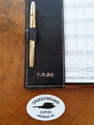 Sparrowhawk Leather handmade in NZ leather bookcover wiht penholder and date