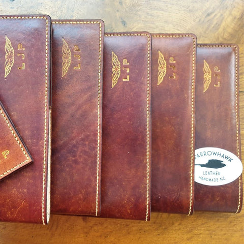 Sparrowhawk Leather Pilot Logbook cover collection cut from the same hide, hand rubbed dyeing