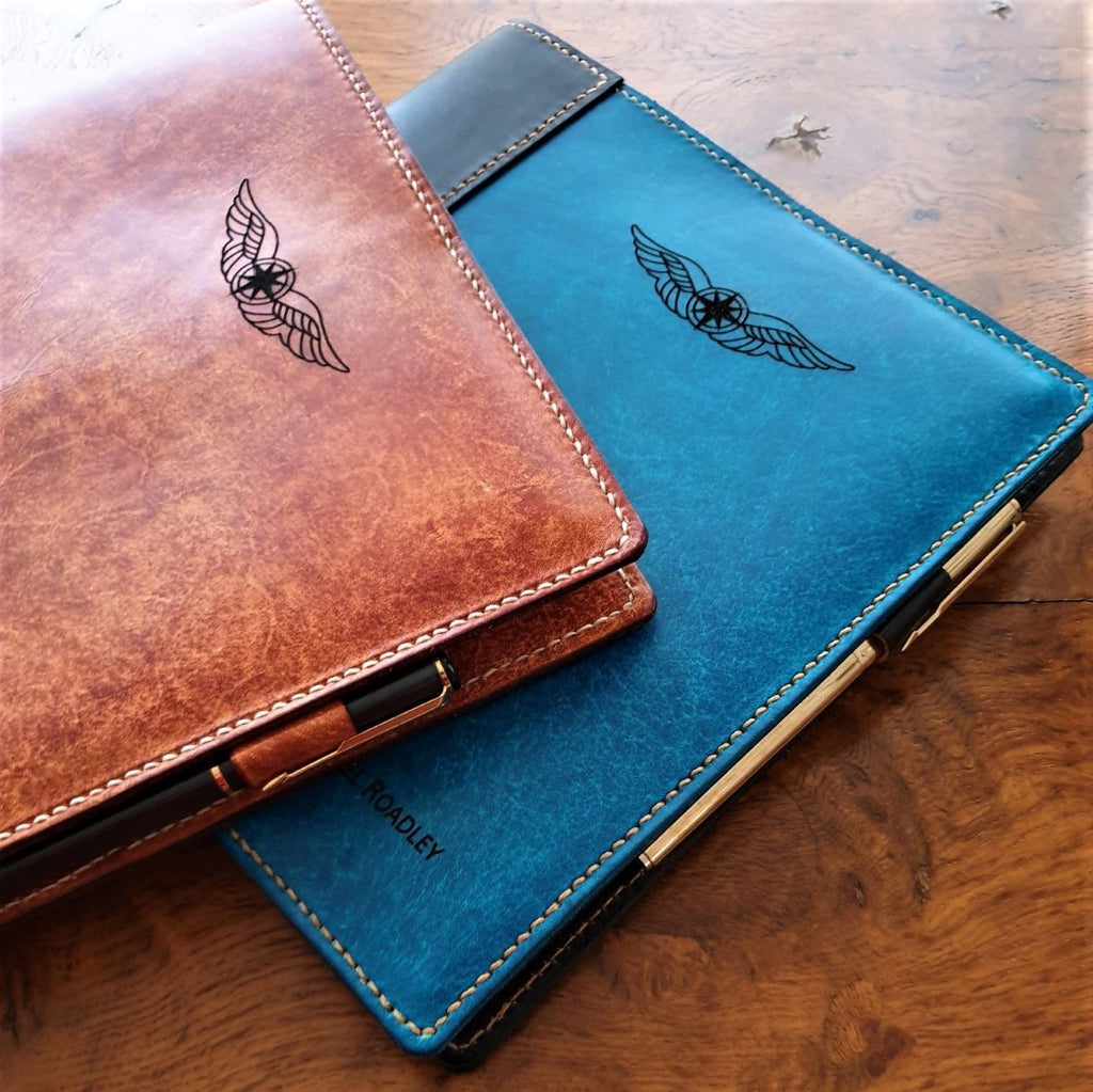 Sparrowhawk Leather hand dyed laser engraved NZCAA Pilot Logbook covers