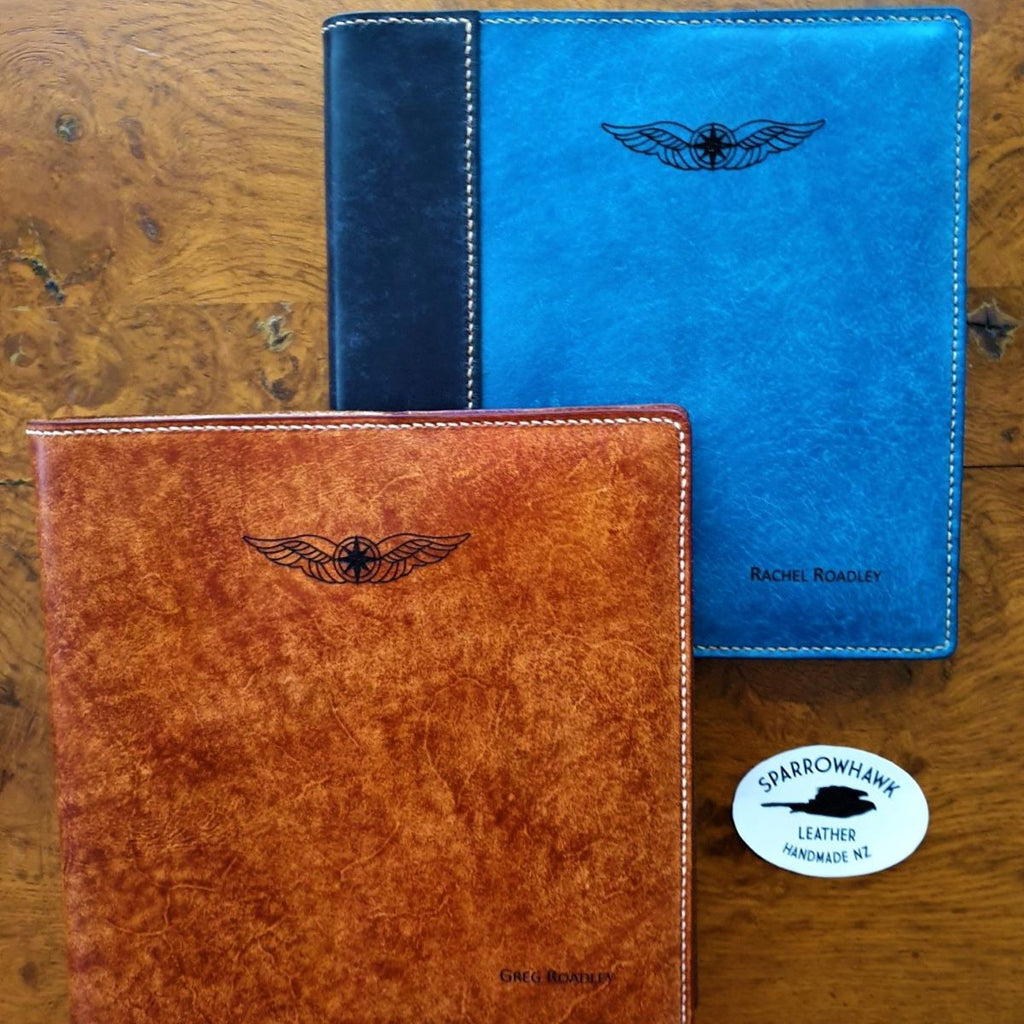 Pilot Logbook covers NZCAA with laser engraved wings and name