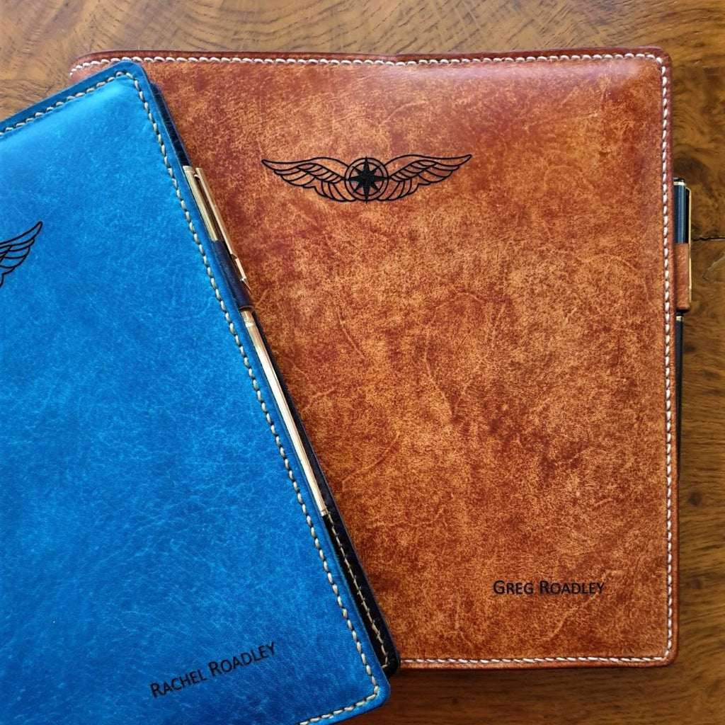 Sparrowhawk Leather hand dyed laser engaved CASA Pilot Logbook Covers