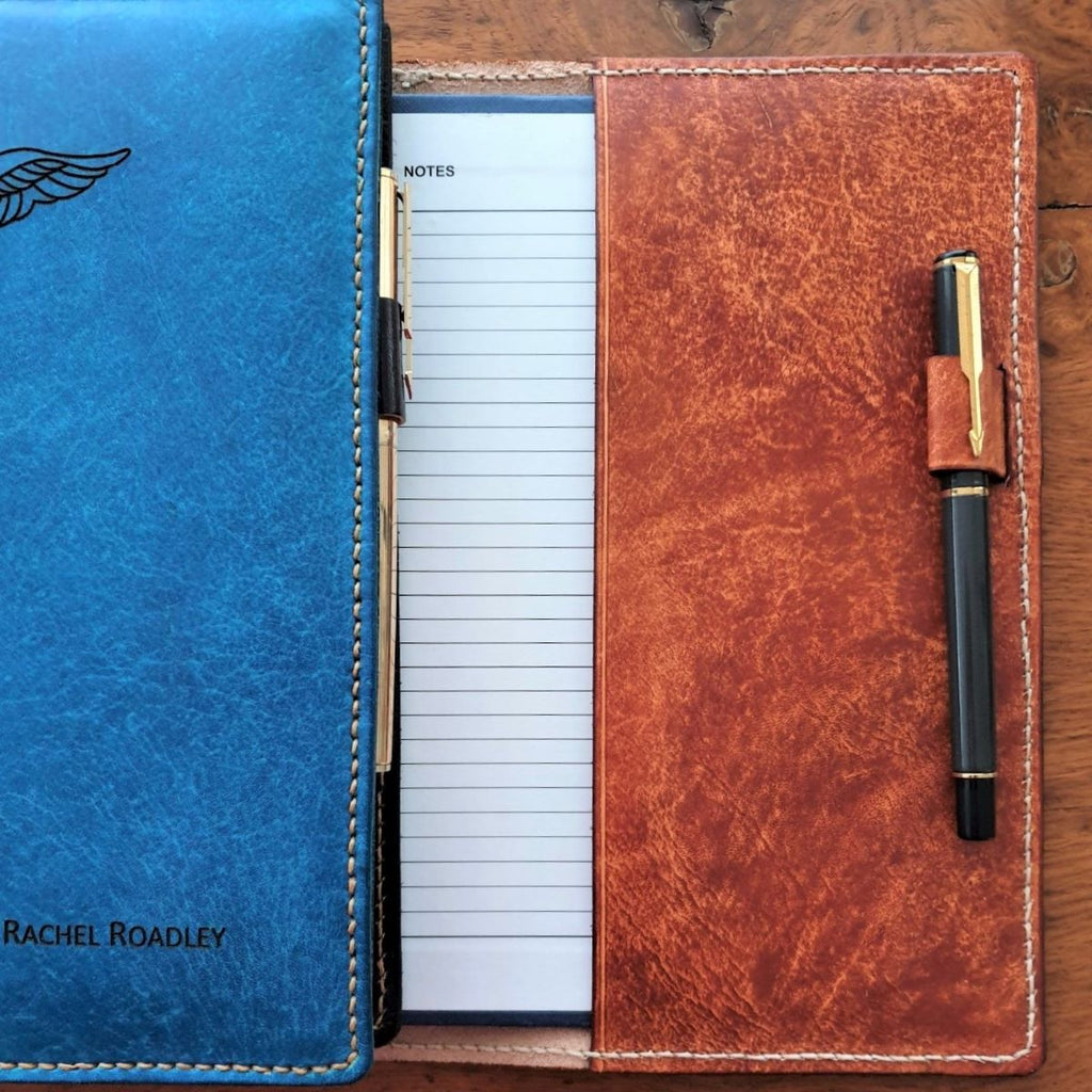 Pilot Logbook Covers with Pen Holders and laser engraved name