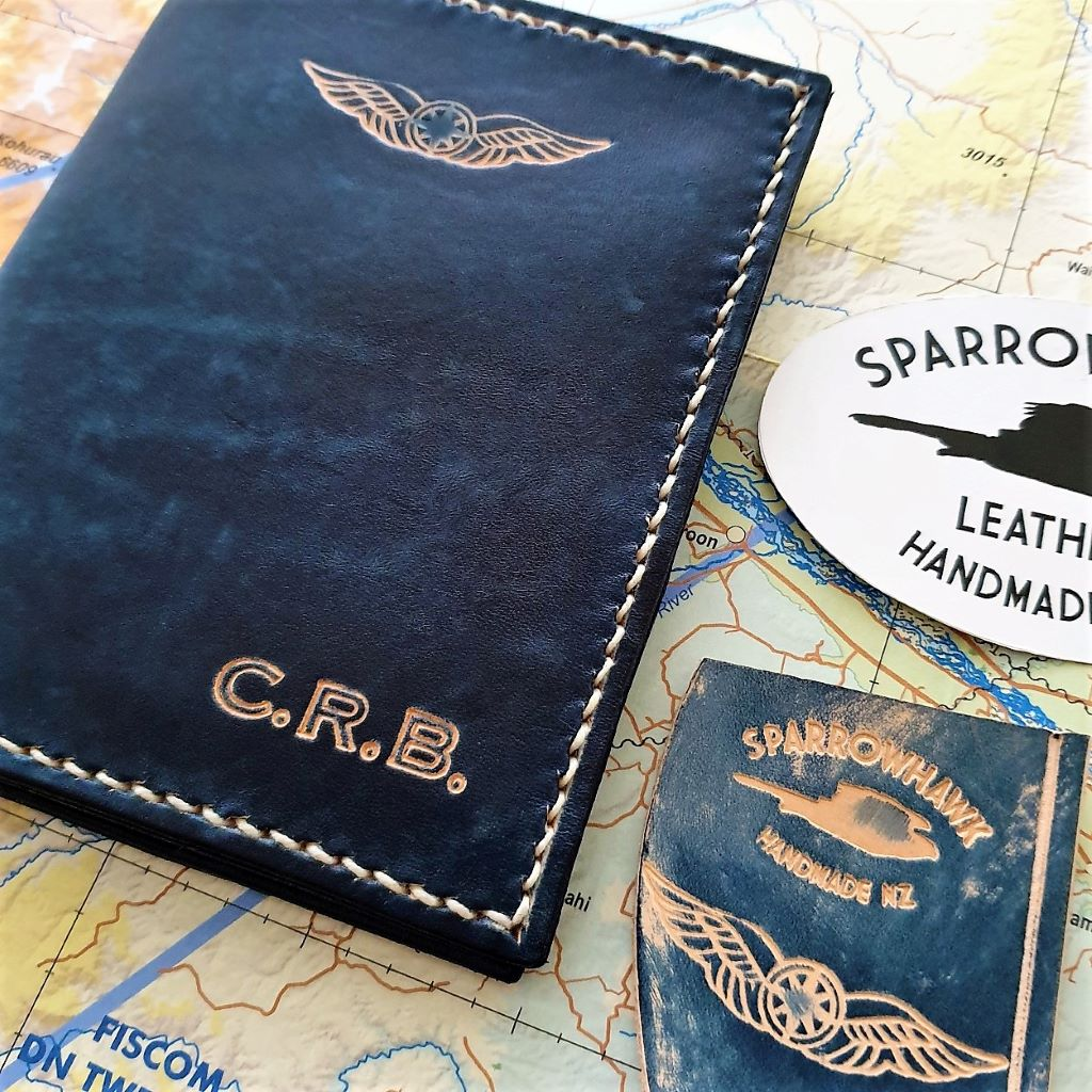 Sparrowhawk Leather NZ CAA Pilot Licence & medical cetificate wallet