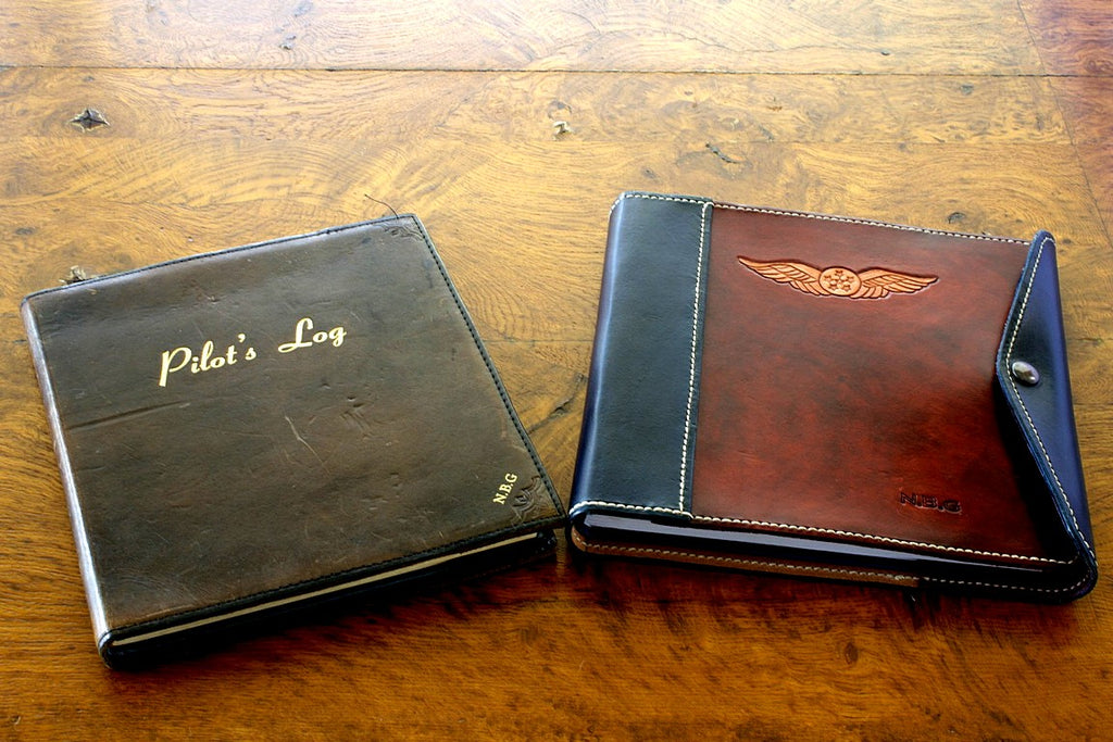 Sparrowhawk Leather the original pilot logbook cover (left) and Fiona's first pilot logbook cover (right)