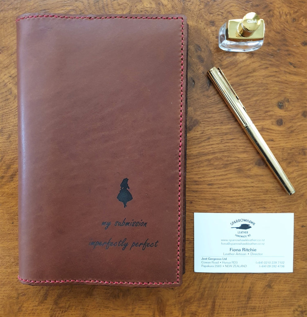 Sparrowhawk Leather custom laser engraving moleskine leather notebook cover Alice