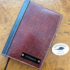 Black and Brown handmade journal cover with engraved nameplate by Sparrowhawk Leather NZ