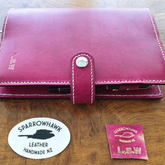 Sparrowhawk Leather handmade Raspberry Journal Cover with snap closure