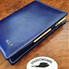 Sparrowhawk Leather handmade NZ Royal Blue Journal Diary Bookcover with penholder