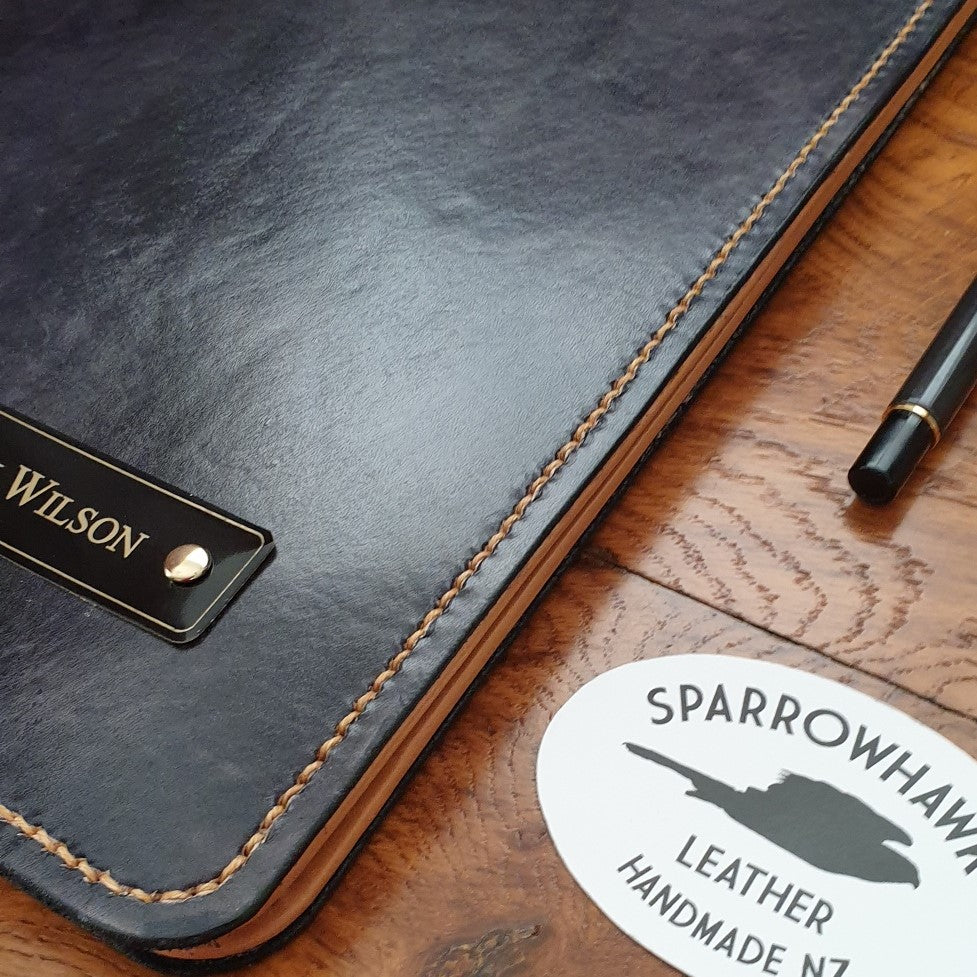 Sparrowhawk Leather Black handmade leather portfolio with engraved nameplate (black on brass)