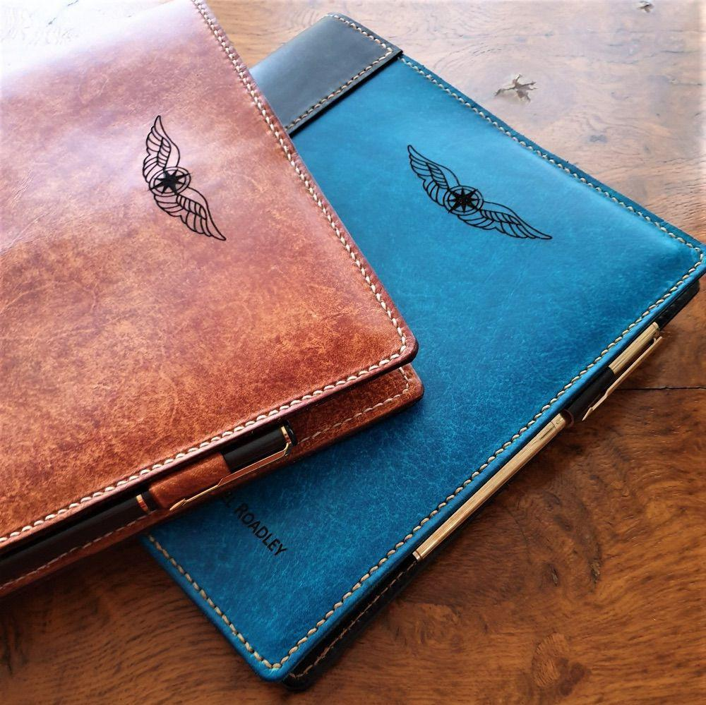 Sparrowhawk Leather laser engraved leather book covers with personalisation