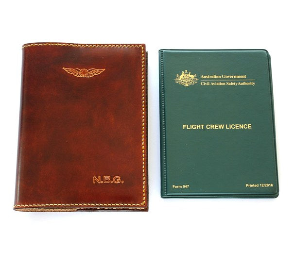 Leather Pilot Licence Casa Holder Initials Casa Pilot Licence Leather Sparrowhawk Leather Nz