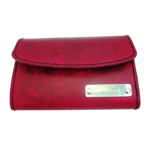 Womens Compact Wallet - Hand Finished Leather - Nameplate