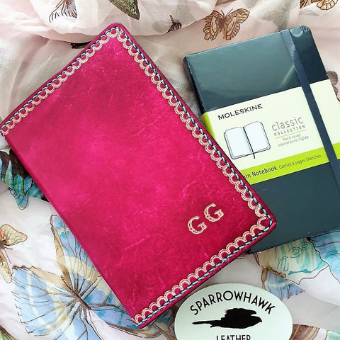 Moleskine Pocket Notebook Cover - Delicate Lace - Embossed Initials