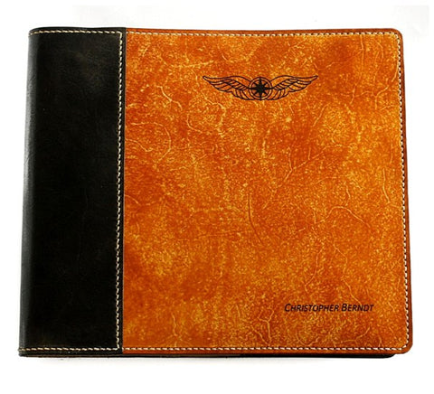 Pilot Logbook Cover - book closure, 2 colour spine / front, laser engraved wings & name