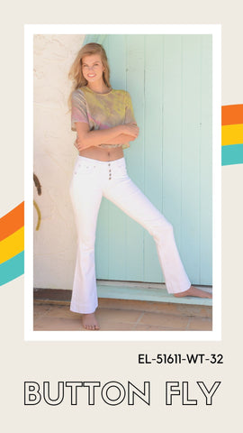 grace in la white button fly flares