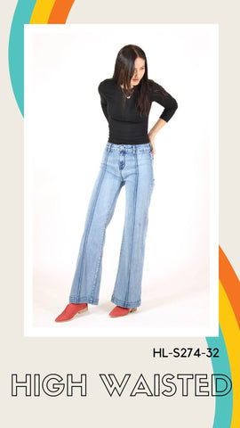 grace in la high waist front pleat wide leg flares