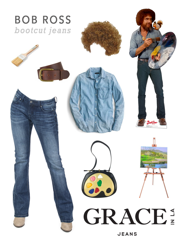 Grace in LA Bob Ross Costume in Bootcut Denim Jeans
