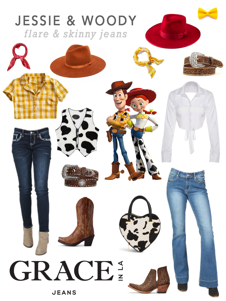 Grace in LA Jessie Woody Cowboy Costume in Flare Skinny Denim Jeans