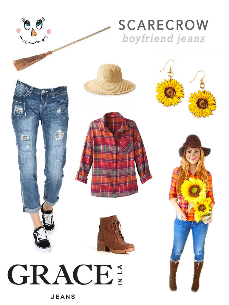 Grace in LA Scarecrow Costume in Boyfriend Straight Denim Jeans
