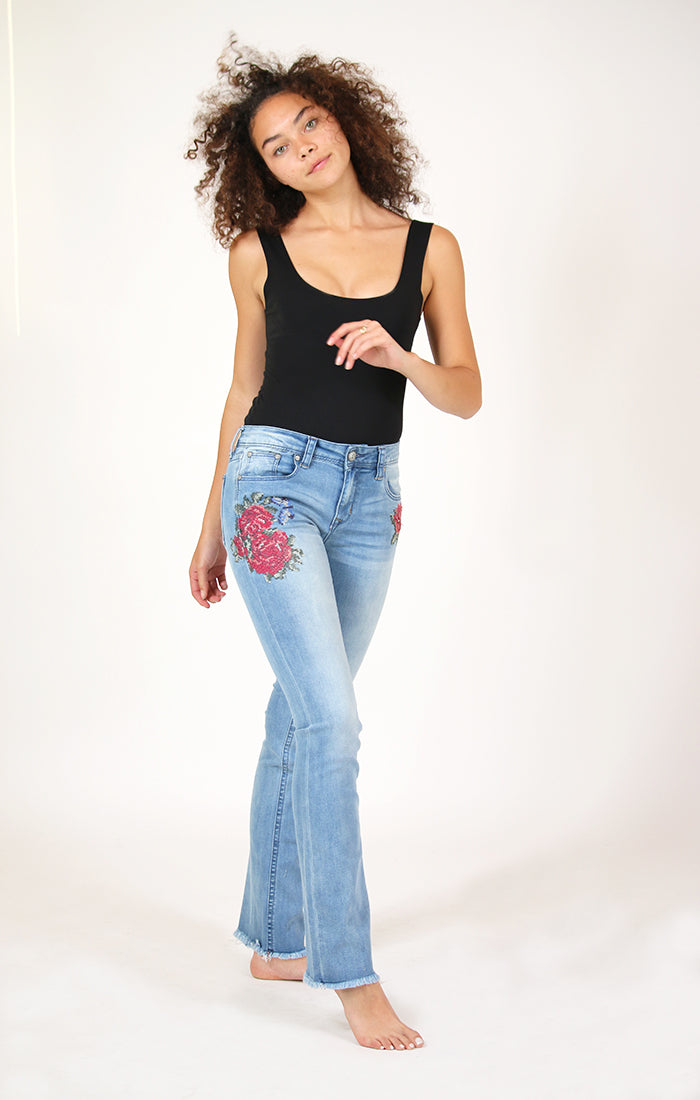 Red Floral Embroidered Easy Bootcut Jeans | EB-2181