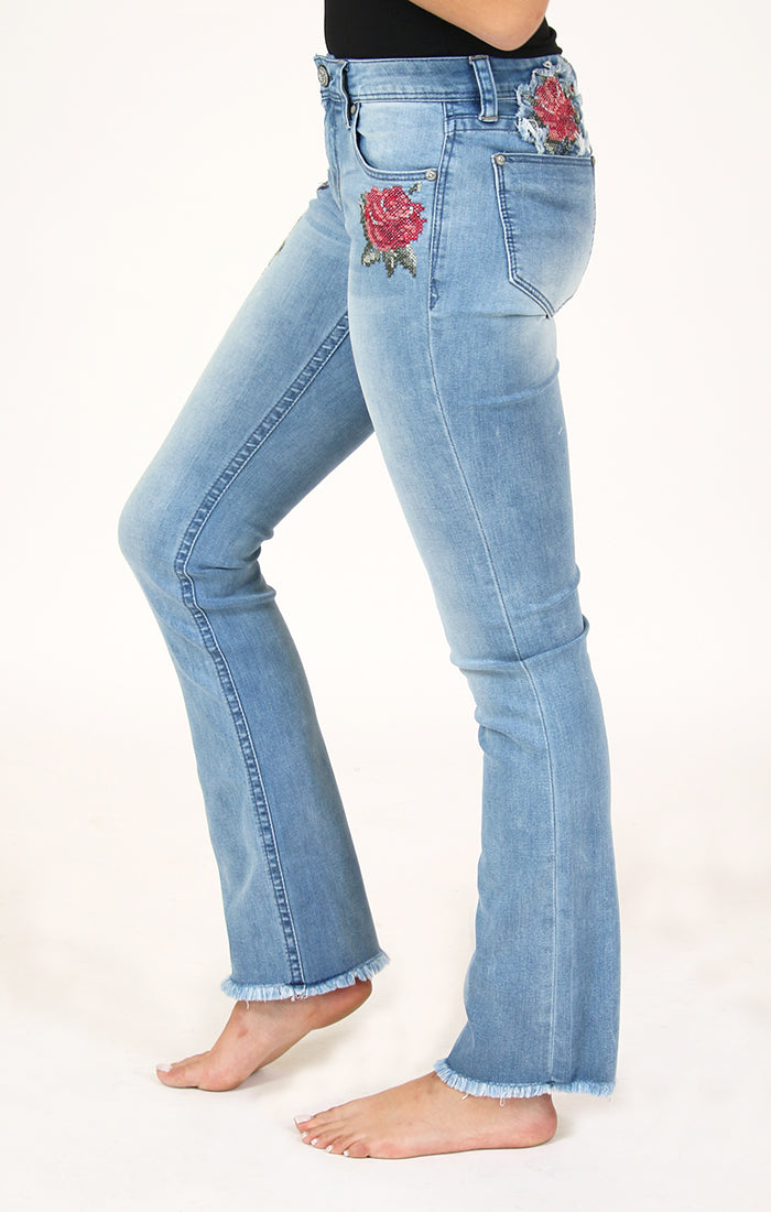 Floral-Detail Easy Bootcut Jeans | EB-2181